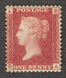 Great Britain: 1858-79 1d. red Plate 77, unused.